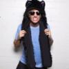 écharpe capuche en fausse fourrure de loup noir