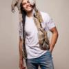 écharpe capuche en fausse fourrure de carcajou