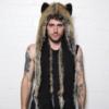 écharpe à capuche en fausse fourrure de loup