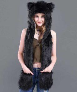 écharpe à capuche en fausse fourrure de loup noir