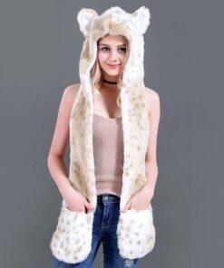 écharpe à capuche en fausse fourrure de léopard des neiges