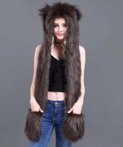écharpe à capuche en fausse fourrure d'ours brun