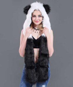 écharpe à capuche unique en fausse fourrure de panda