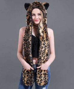 écharpe à capuche en fausse fourrure de jaguar