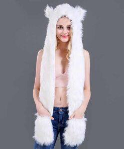écharpe à capuche en fausse fourrure de husky