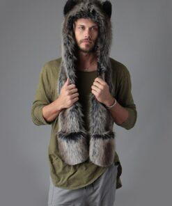 écharpe 3en1 en fausse fourrure de loup gris