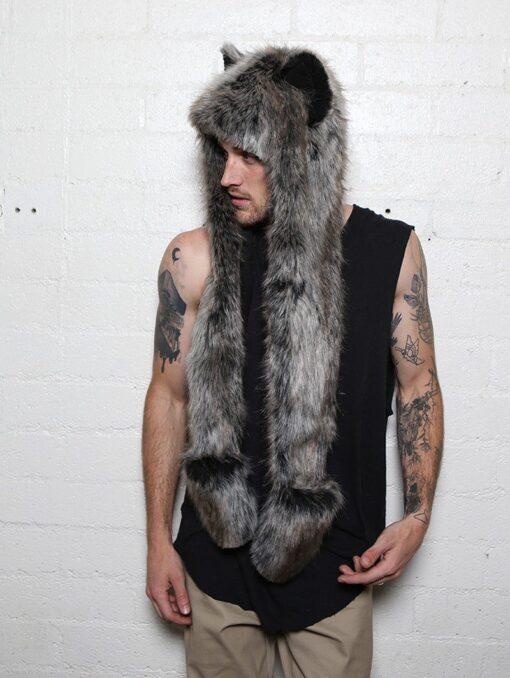 écharpe capuche en fausse fourrure de loup gris